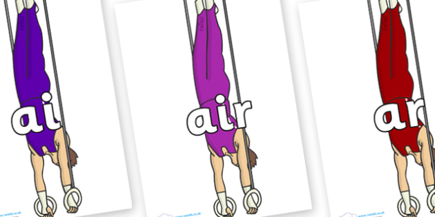 Phase 3 Phonemes on Gymnasts (Hoops) - Phonemes, phoneme, Phase 3, Phase three, Foundation, Literacy, Letters and Sounds, DfES, display