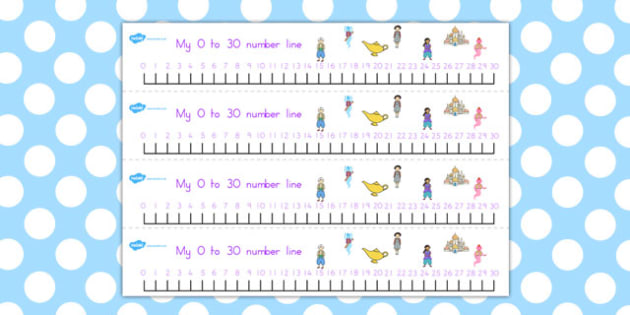 Aladdin Number Lines 0 30 - maths, numeracy, numbers, counting