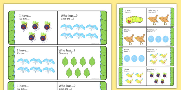 I Have Who Has Activity to Support Teaching on The Crunching Munching Caterpillar Romanian Translation - catapillar, catterpillar, caterpiller, eys, ks1, literacy, english,