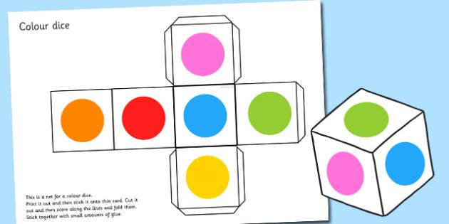 Colour Dice Net - colour, dice, net, shapes, math, visual aids