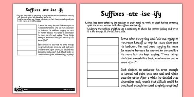 Suffixes -ate -ise -ify Application Activity Sheet - GPS, spelling, punctuation, grammar, root, worksheet