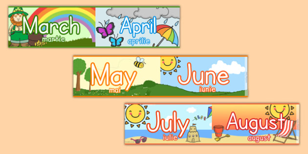Months of the Year Display Borders Romanian Translation - romanian, months, year, display borders