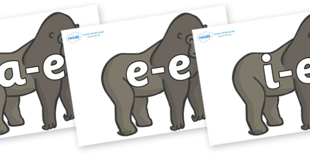 Modifying E Letters on Gorillas - Modifying E, letters, modify, Phase 5, Phase five, alternative spellings for phonemes, DfES letters and Sounds