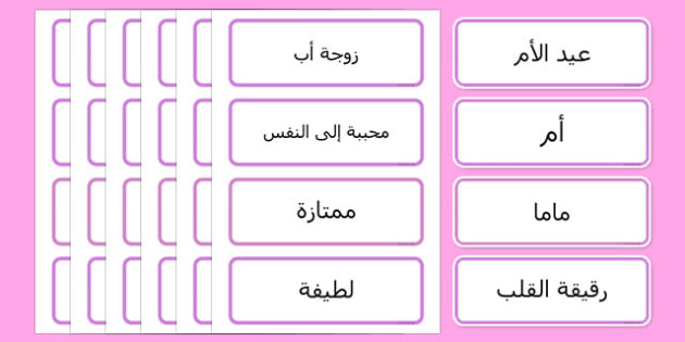 بطاقات مفردات عيد الأم - عيد الأم، الأم، وسائل تعليمية، موارد