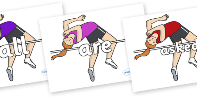 Tricky Words on High Jump - Tricky words, DfES Letters and Sounds, Letters and sounds, display, words