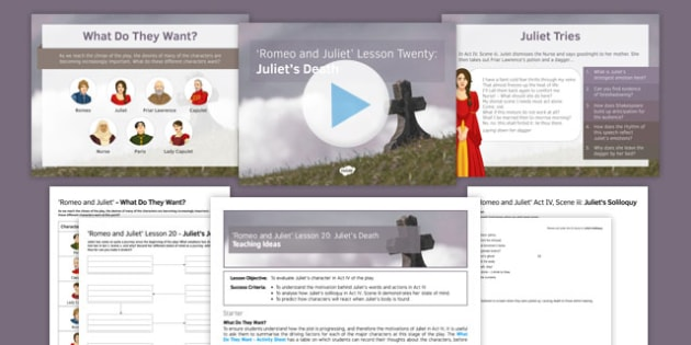 Romeo and Juliet Lesson Pack 20: Juliet's Death