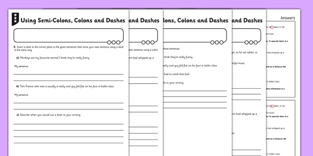 Using Semi-Colons, Colons and Dashes Differentiated Activity Sheet - GPS, punctuation, grammar, clauses, sentences, worksheet