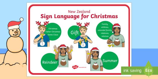 New Zealand Sign Language Christmas Display Poster