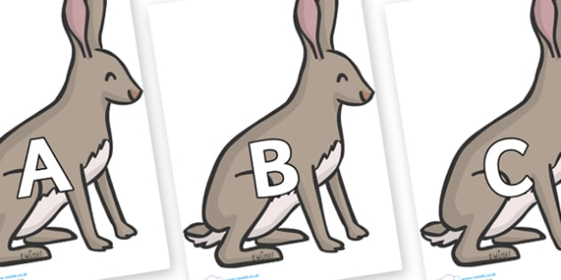 A-Z Alphabet on Hares - A-Z, A4, display, Alphabet frieze, Display letters, Letter posters, A-Z letters, Alphabet flashcards