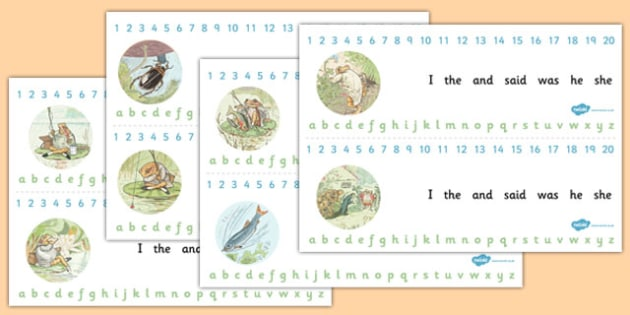 The Tale of Mr Jeremy Fisher Combined Number and Alphabet Strips - jeremy, fisher, number, alphabet, writing, aid, numeracy, maths