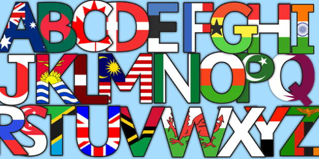 World Flag Display Lettering - letters, displays, flags, poster
