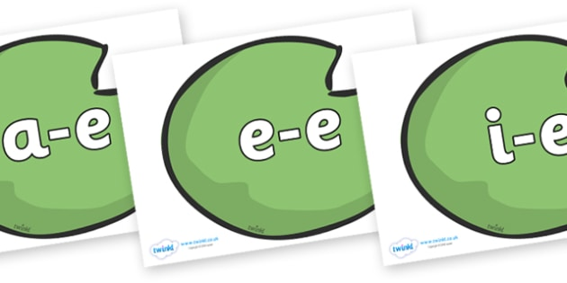 Modifying E Letters on Lily Pads - Modifying E, letters, modify, Phase 5, Phase five, alternative spellings for phonemes, DfES letters and Sounds