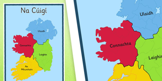 Irish Provinces of Ireland Display Poster Gaeilge - Irish, Gaeilge, Provinces, Ireland, Geography, Poster