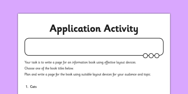 Layout Devices Application Activity Sheet - GPS, presentational devices, headings, sub-headings, columns, bullets, tables, non-fiction, worksheet