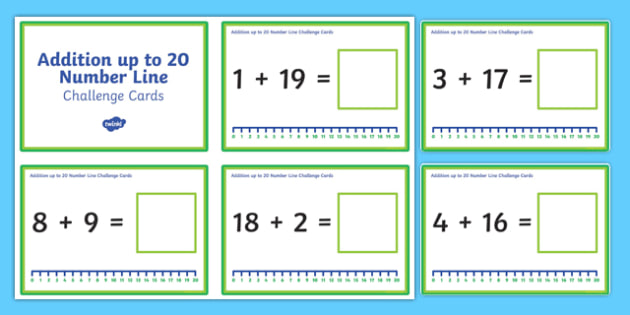 Addition up to 20 with a Number Line Challenge Cards - addition, 20, number line, challenge cards, challenge, cards