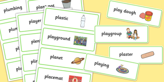 Two Syllable PL Sound Word Cards - two syllable, pl sound, word cards, sound, pl