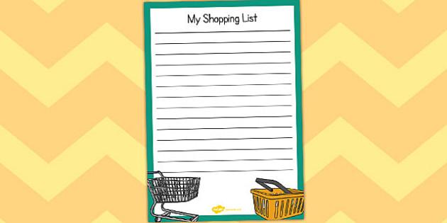 Pound Shop Shopping List - pound shop, role-play, shopping, list