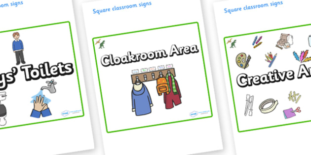 Dinosaur Themed Editable Square Classroom Area Signs (Plain) - Themed Classroom Area Signs, KS1, Banner, Foundation Stage Area Signs, Classroom labels, Area labels, Area Signs, Classroom Areas, Poster, Display, Areas