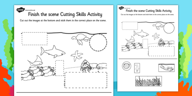 Under the Sea Finish the Scene Cutting Skills Activity Sheet Pack, worksheet