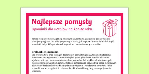 Dobre rady Upominek na zakończenie roku po polsku