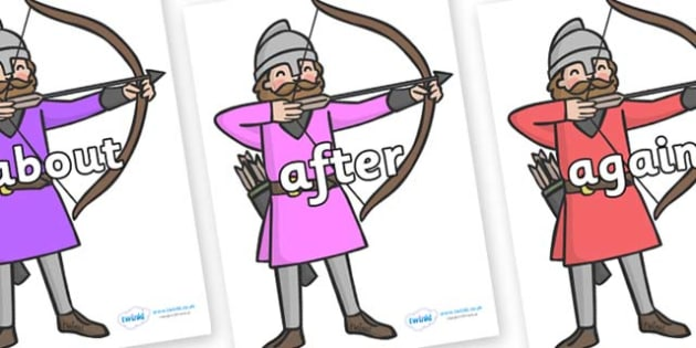 KS1 Keywords on Archers - KS1, CLL, Communication language and literacy, Display, Key words, high frequency words, foundation stage literacy, DfES Letters and Sounds, Letters and Sounds, spelling