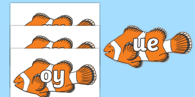 Phase 5 Phonemes on Clown Fish - Phonemes, phoneme, Phase 5, Phase five, Foundation, Literacy, Letters and Sounds, DfES, display
