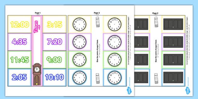 Time Writing Clocks Foldable Visual Aid Template Arabic Translation - time, clock, tell, analogue, maths, ssm, ks1, year 1, year 2, arabic, eal