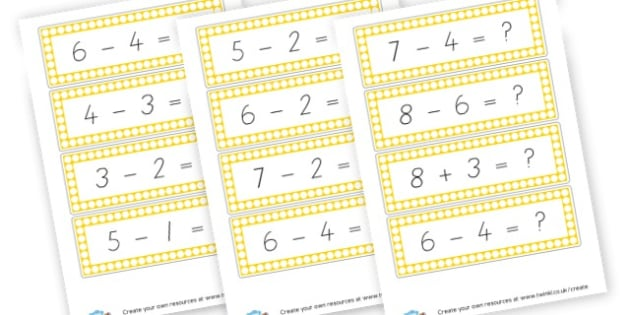 Subtraction Facts to 10 Cards - Calculation Primary Resources, maths, add, subtract, calculation