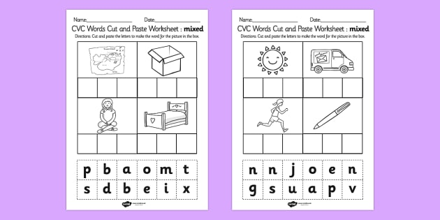 CVC Words Cut and Paste Worksheets Mixed - CVC word, cut, paste