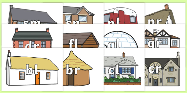 Phase 4 Blends and Clusters on Houses and Homes Display Cut Outs