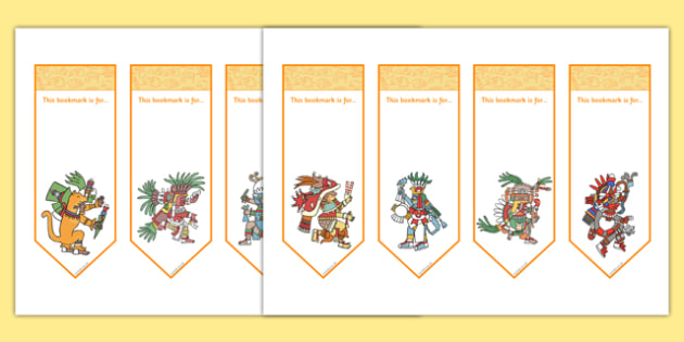 Aztec Editable Bookmarks - aztec, editable, bookmarks, history, america