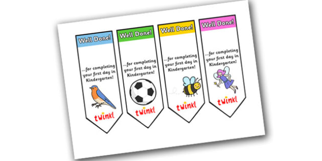 Editable First Day Bookmarks Kindergarten -  bookmark, reward, award, first day, school