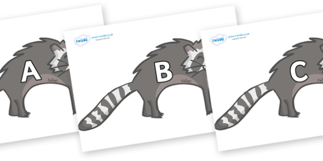 A-Z Alphabet on Raccoons - A-Z, A4, display, Alphabet frieze, Display letters, Letter posters, A-Z letters, Alphabet flashcards