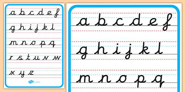 Cursive Alphabet Letter Formation Poster Lower Case - cursive, alphabet, letter formation, poster, display, lower case