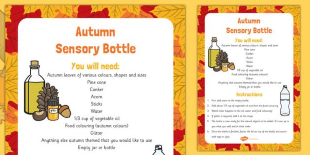 Autumn Sensory Bottle - autumn, EYFS, sensory, senses, explore, investigate, seasons, time, year, routine, change