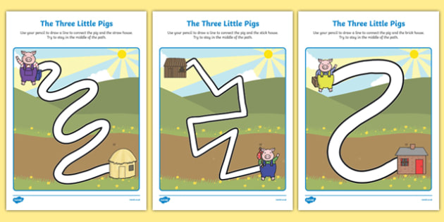The Three Little Pigs Pencil Control Path Sheets - pencil