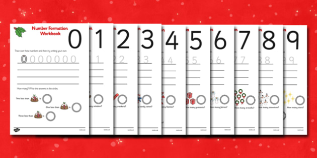 Christmas Number Formation Worksheets (0-9) - Christmas, xmas, Handwriting, number formation, Christmas, pudding, advent, nativity, santa, father christmas, Jesus, tree, stocking, present, activity, cracker, angel, snowman, advent , bauble, number wr
