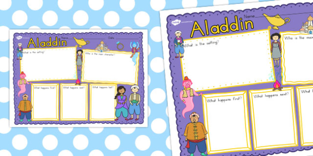 Aladdin Book Review Writing Frame - frames, books, visual, write