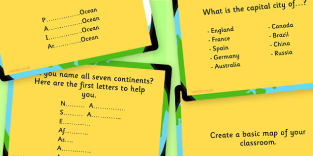 KS1 Geography Challenge Cards - Geography, Challenge, Cards, KS1