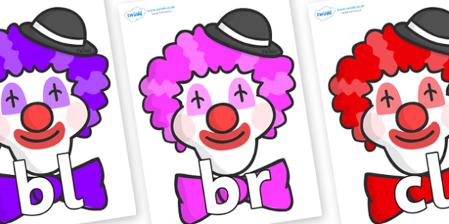 Initial Letter Blends on Clown Faces - Initial Letters, initial letter, letter blend, letter blends, consonant, consonants, digraph, trigraph, literacy, alphabet, letters, foundation stage literacy