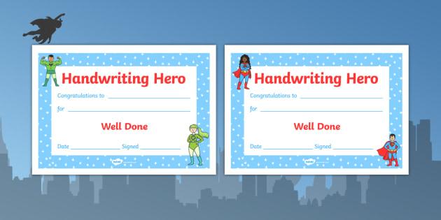 Handwriting Hero Certificate Boys Girls - handwriting hero, certificate, boys, girls, handwriting, hero