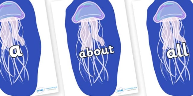 100 High Frequency Words on Jellyfish - High frequency words, hfw, DfES Letters and Sounds, Letters and Sounds, display words