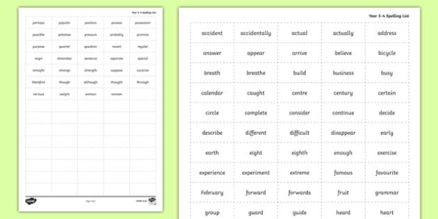 Spelling Zapper Word Grid Year 3-4 - spelling zapper, spell, spelling, zapper, dyslexic, dyslexia, learn, tricky words, personalise, words, word grid, year 3, year 4