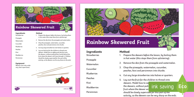 Rainbow Skewered Fruit Recipe