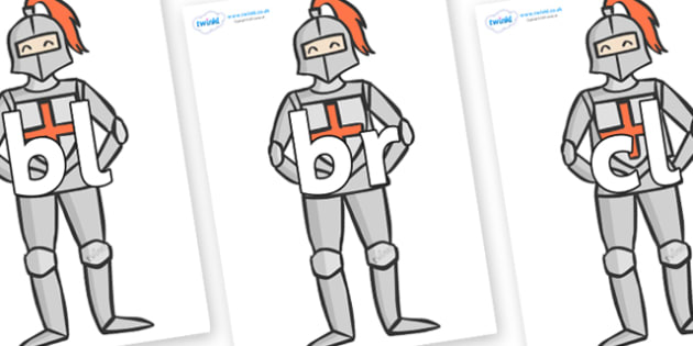 Initial Letter Blends on Knights - Initial Letters, initial letter, letter blend, letter blends, consonant, consonants, digraph, trigraph, literacy, alphabet, letters, foundation stage literacy