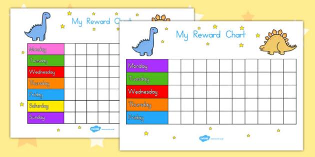 My Reward Chart Dinosaurs - reward chart, australia, dinosaurs, cute, daily, rewards, sticker chart, behaviour, praise