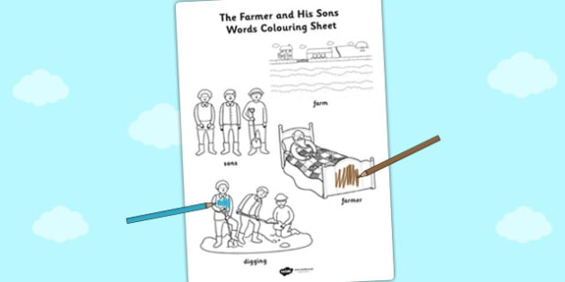 The Farmer and His Sons Words Colouring Sheet - aesops fables