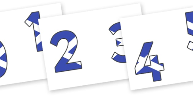 0-9 Scottish Flag Display Numbers - 0-9, display numbers, maths, number, numbers, display, Scottish flag, Scottish, Scotland, KS2 on flags