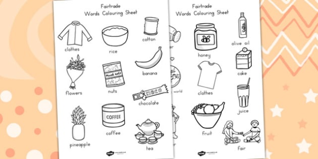 Fairtrade Words Colouring Sheets - colour, fair trade, food