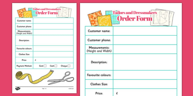 Tailors and Dressmakers Shop Order Sheets - tailors, dressmakers, shop, order sheet